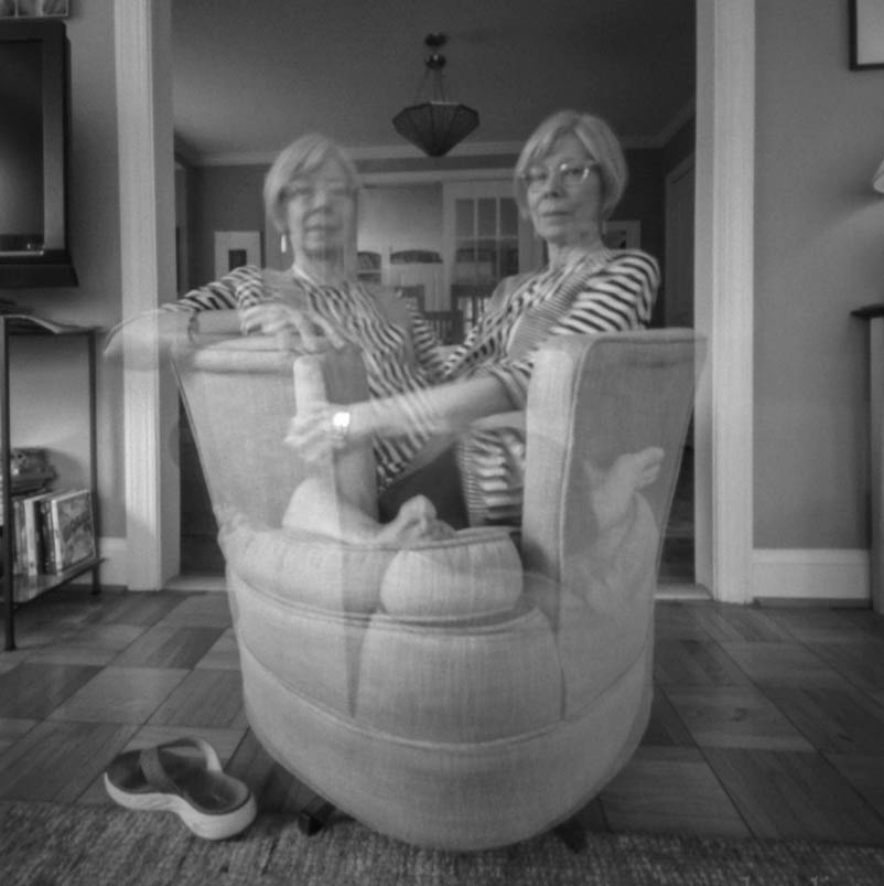 double self-portrait of pinhole photographer Nancy Breslin, taken with her pinhole camera
