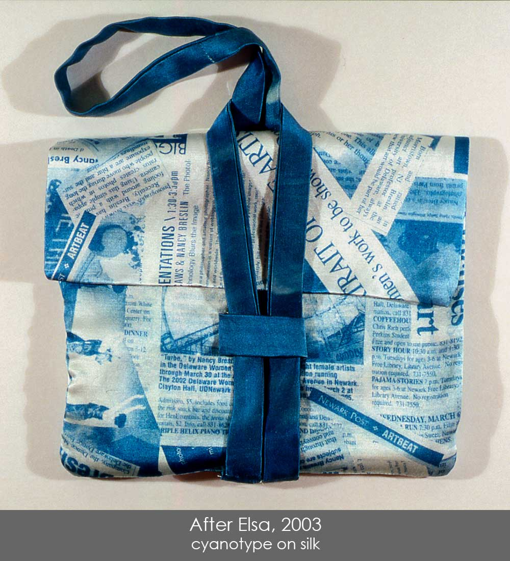 Cyanotype on silk, sewn into a small handbag.  The print is collages press clippings about my work, inspired by fabric by Elsa Schiaparelli.