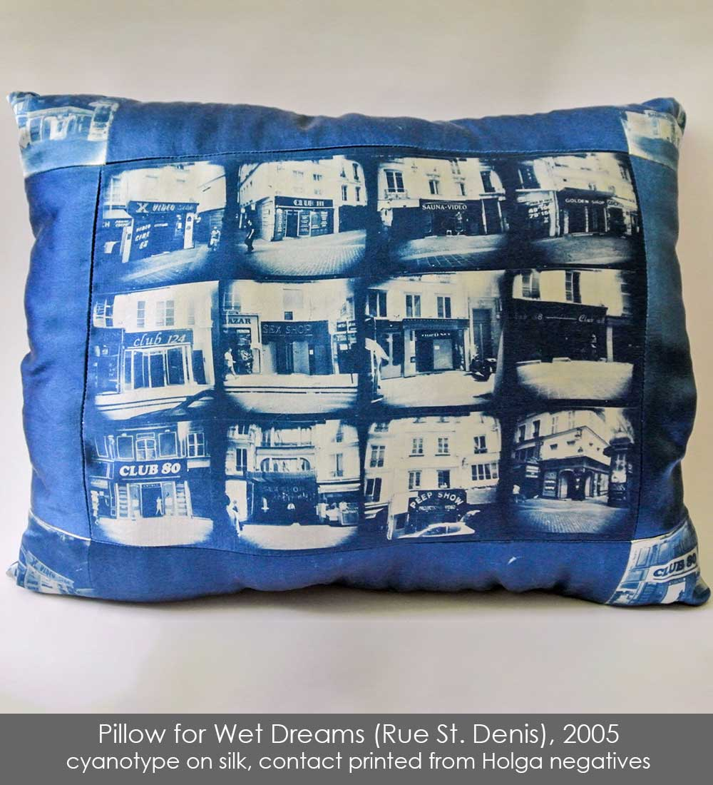 Pillow sewn from cyanotype on silk, contact printed with Holga negatives of sex shops along the Rue St. Denis, Paris.