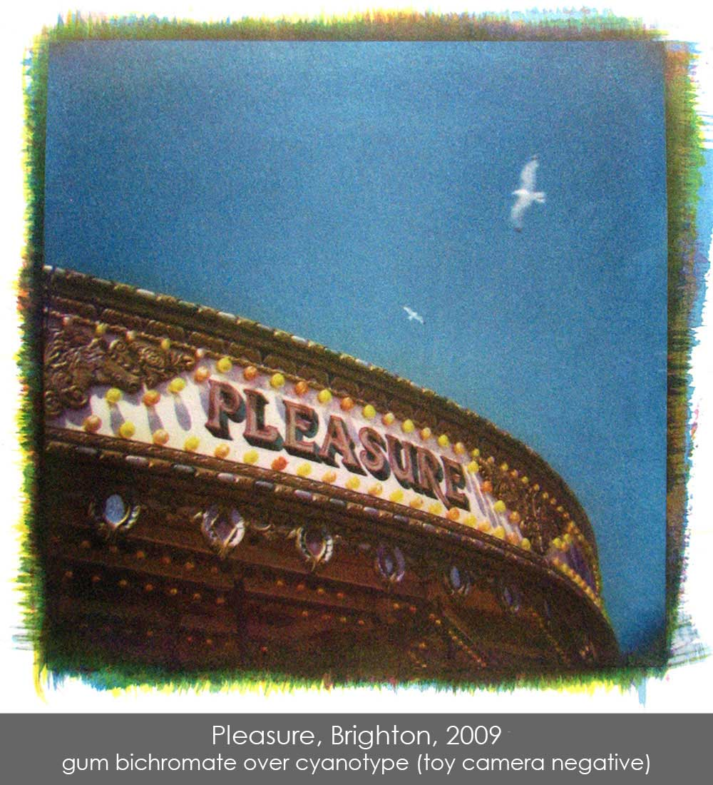 Pleasure, Brighton, 2009, a gum bichromate over cyanotype print of a carousel from a toy camera negative.