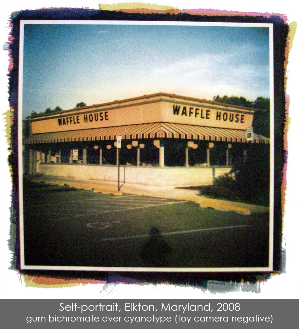 Gum bichromate over cyanotype print of a Waffle House in Elkton, Maryland, 2009.