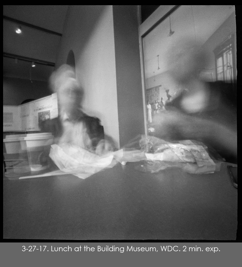 Pinhole photo of lunch at the Building Museum in Washington, DC.