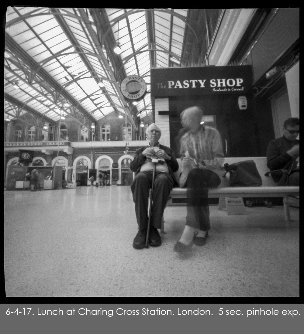 Pinhole photo of a quick lunch at Charing Cross Station in London.